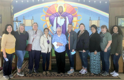 These ladies came from around the state for a tour of the painted churches and  stopped in to see the Monument.