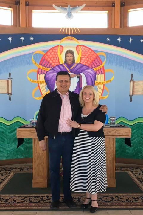 Visitors Hector Montoya and Kelly Shupak … April 16, 2018