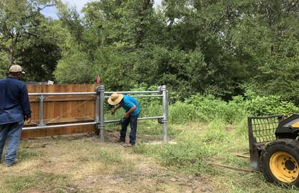 Construction of Exit  Gate by Bludau Fencing, July 2021