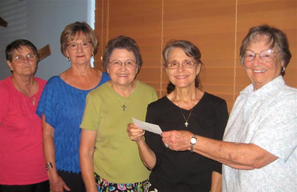 The Flatonia KJZT No. 83 has made a $100 donation to Raphael's Refuge. Pictured (L to R) are members Evelyn Miller, Ann Bratton, Jeanette Zouzalik, director of the Refuge, Midge Elam, and member Doris Garbade … August 6, 2013