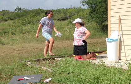 15 HS girls and the Director from Camp Avanti (an Opus Dei leadership camp) came to work cleaning in and around the Refuge … June 29, 2014