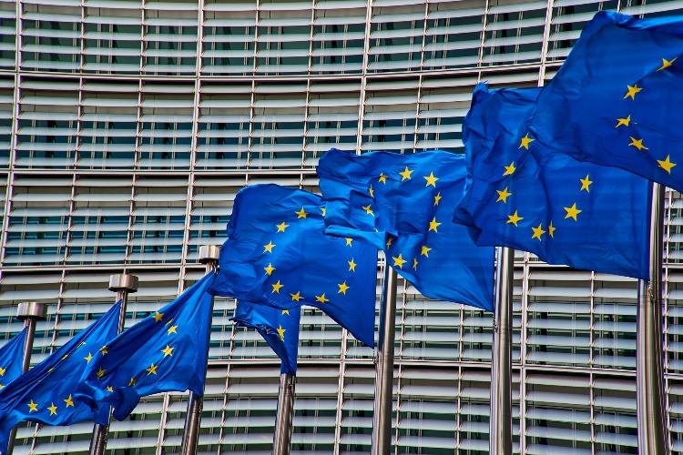 le bandiere dell'UE che sventolano