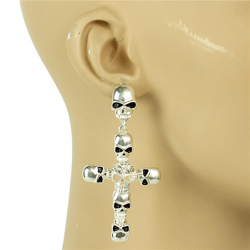 "Metal Cross Skull Earrings 3"" Lng"