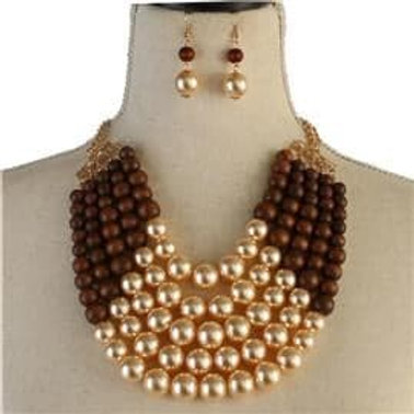 Multi Strand Pearl Necklace Set-Two Tone