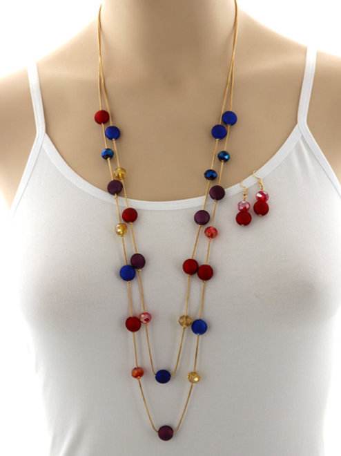 Long Beaded Multi Color Necklace Set