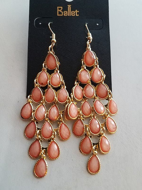 Peach Teardrop Chandelier Earrings