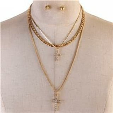 Multi Layer Metal Necklace Cross