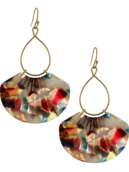 Gold-tone Acrylic Shell Earrings