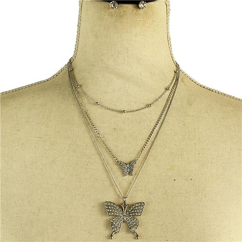 Multi-Layer Metal Butterfly Necklace