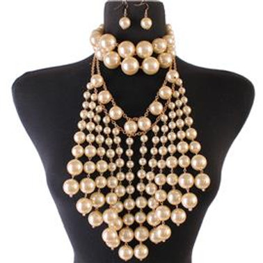 3 in 1 Pearl Chandelier Necklace Set