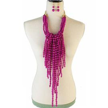 Long Fringed Pearl Necklace Set