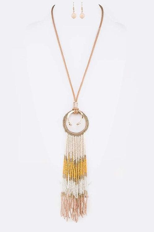 Long Beaded Tassel Necklace Set