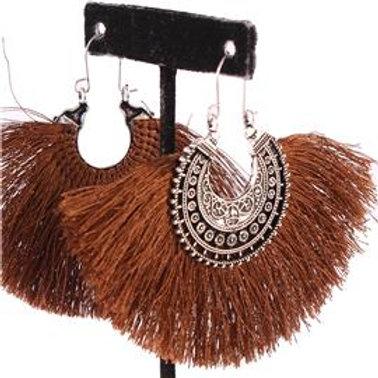 Semi-Round Hoop Tassel Earrings