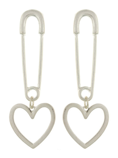Metal PaperClip Heart Earrings