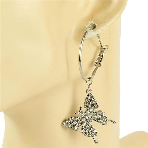 Metal Hoop Butterfly Earrings