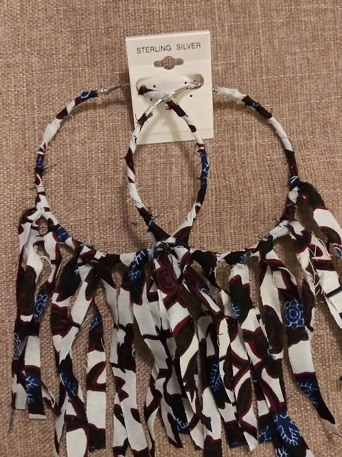 Urban Print Fabric Large Hoop Earrings