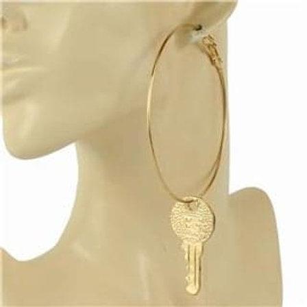 Gold Hoop Key Earrings