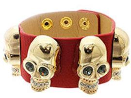 Leather Band Gold Skull Bracelet (Various Colors)