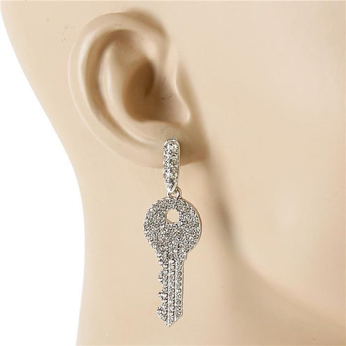 Crystal Metal Key Earrings