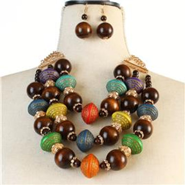 Multi Color Strand Wooded Necklace