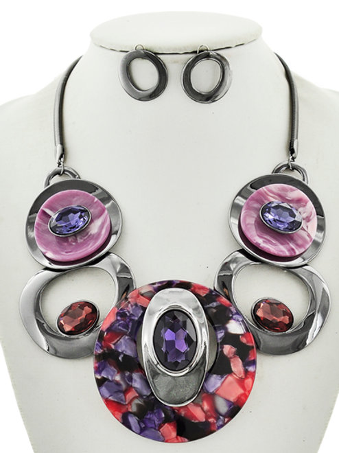 Circle Gemstone Statement Necklace Set