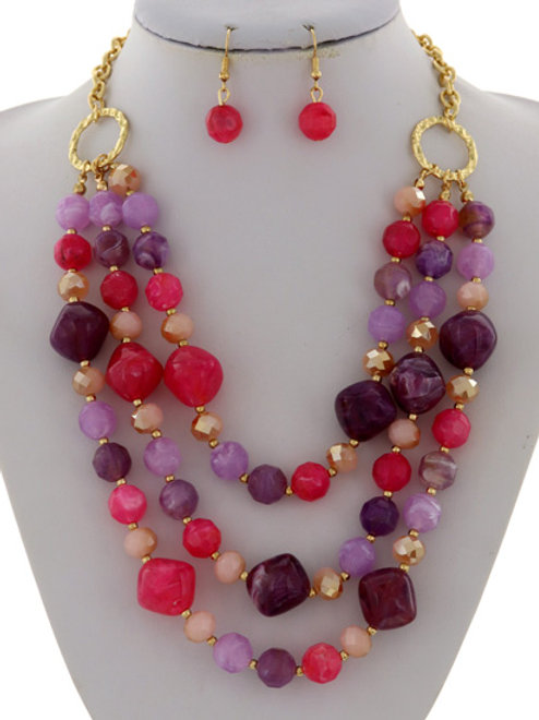 Multi Strand Beaded Necklace Set