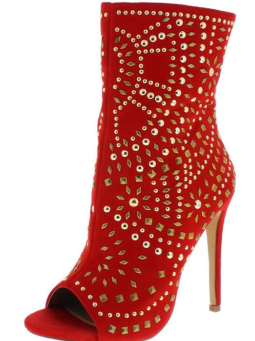 Red Bejeweled Suede Ankle Boot
