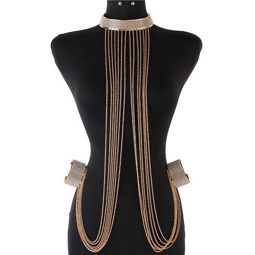 Rhinestones Choker & Cuff Body Chain Gold