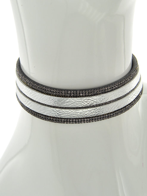 Leather and Crystal Choker