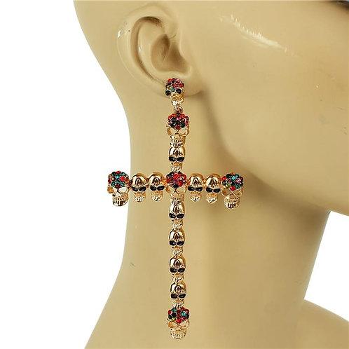 "Metal Cross Skull Earrings 5"""