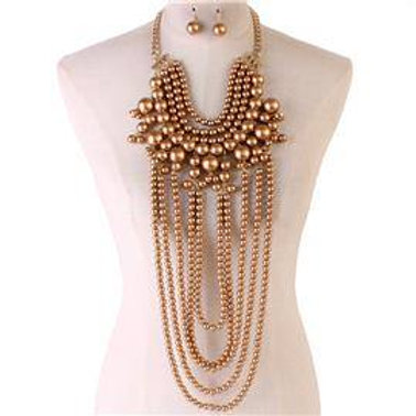 Long Gold Multi Strand Pearl Necklace Set