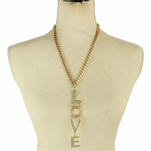 Metal Long Chain Love Necklace Set
