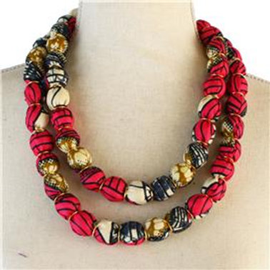 African Print Dbl Strand Necklace