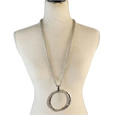 Metal Chunky Circle Long Necklace