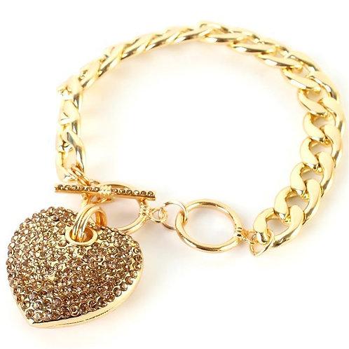 Heart Rhinestone Chain Bracelet
