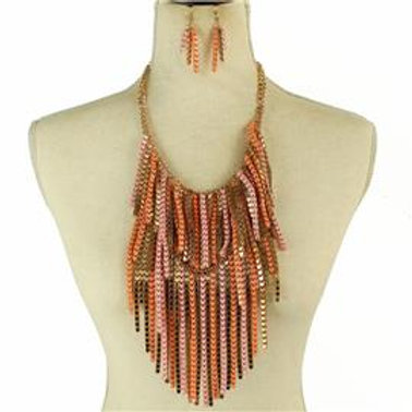 Fringed Chain Necklace Set