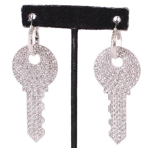 Rhinestone Key Hoop Earrings