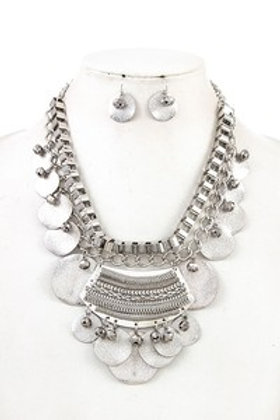 Metal Dangle Statement Necklace Set