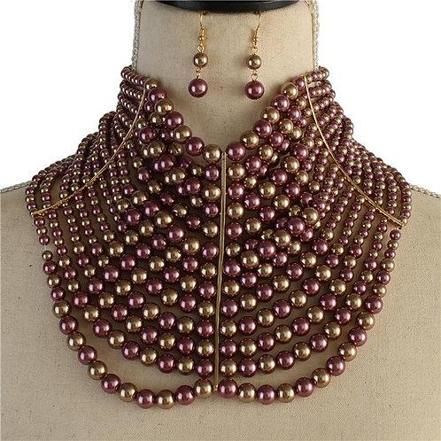 Multi Layer Pearl Fashion Choker Set