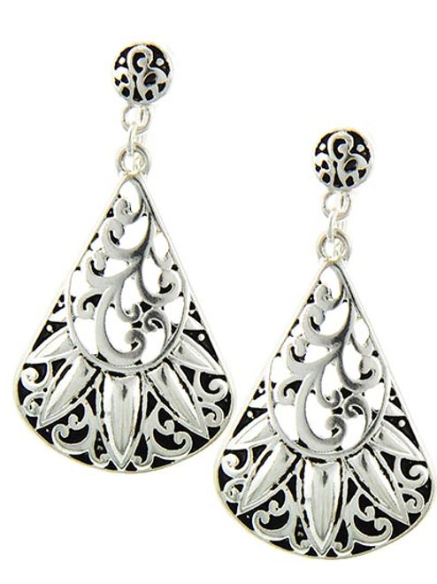 Silver Antique Clip-On Earrings
