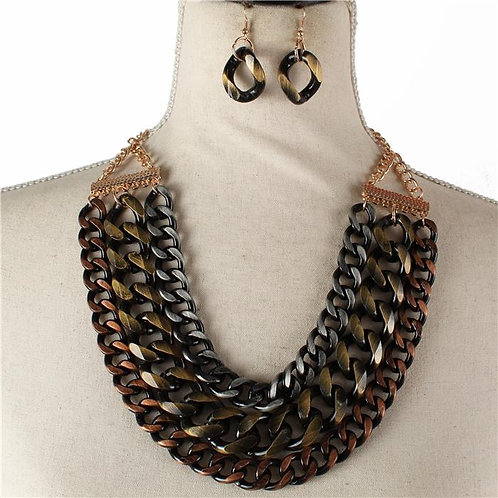 Multi Layered Chain Link Necklace Set
