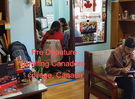 Pre Departure briefing to students of Canadore College, Toronto, Canada