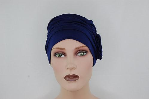 Turbante Azul con forro todo en tela de bambú, para piel sensible