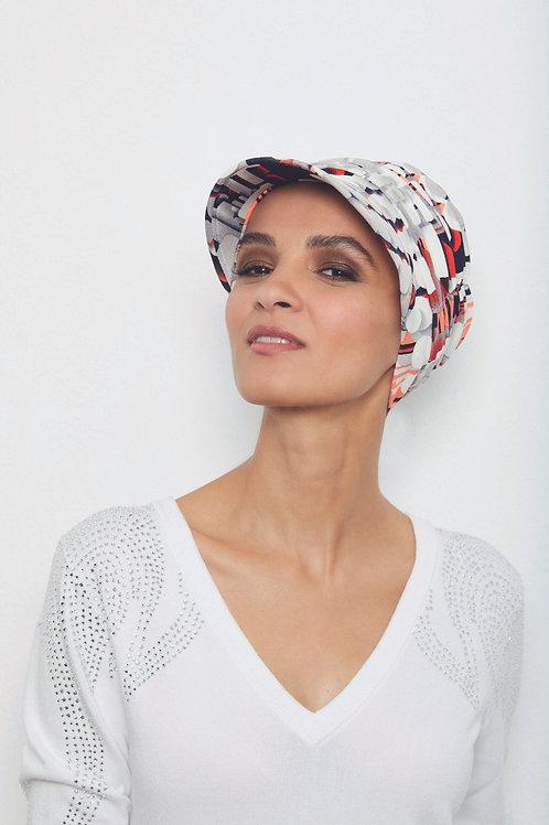turbante visera en tela de bambú  color  estampado veraniego , muy suaves especiales para pieles sensibles