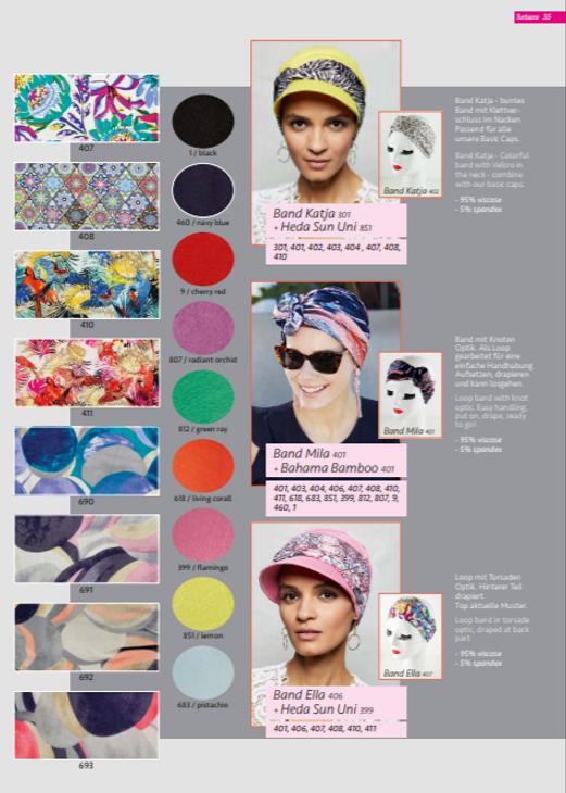 Turbantes oncológico  diversos stampados y colores,su diseño esta especialmente creado para cubrir todas las zonas afectadas por la alopecia causada por los tratamientos de quimioterapia y radioterapia  Lima - Perú.