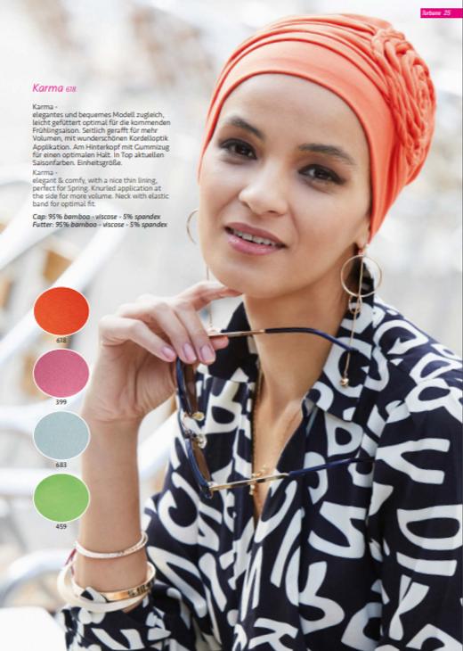 Turbante Oncológico en tela de bambú su diseño esta especialmente creado para cubrir todas las zonas afectadas por la alopecia causada por los tratamientos de quimioterapia y radioterapia  Lima - Perú.