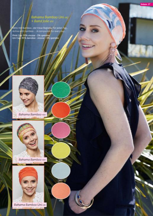 Turbante Oncológico su diseño esta especialmente creado para cubrir todas las zonas afectadas por la alopecia causada por los tratamientos de quimioterapia y radioterapia  Lima - Perú.
