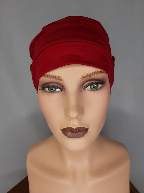 turbante de algodón color rojo vino