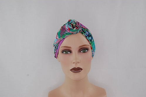 Turbante de gorrita hecha en tela de bambú, con pañuelo de otra textura ,ideal para cubrir alopecias temporales o difinitivas