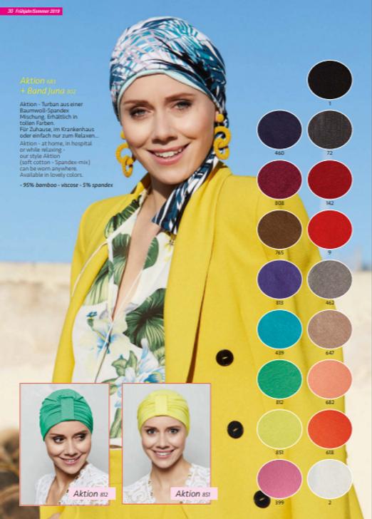 Turbante en tela de bambú, muy suave su diseño esta especialmente creado para cubrir todas las zonas afectadas por la alopecia causada por los tratamientos de quimioterapia y radioterapia  Lima - Perú.